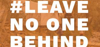 Schriftzug der Kampagne #LeaveNoOneBehind
